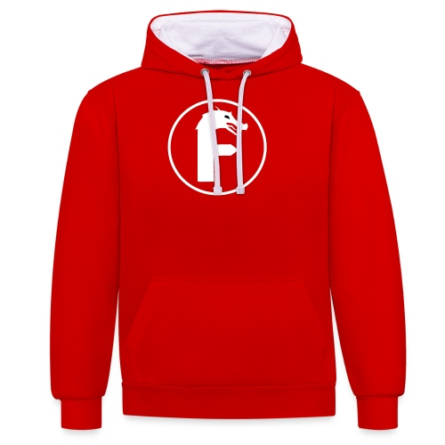 frontier dragon logo circle (white) - Contrast Colour Hoodie