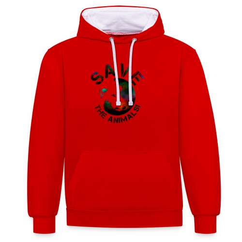 SAVE THE ANIMALS! KOLLEKTION BY Mikka_ufficiale - Kontrast-Hoodie
