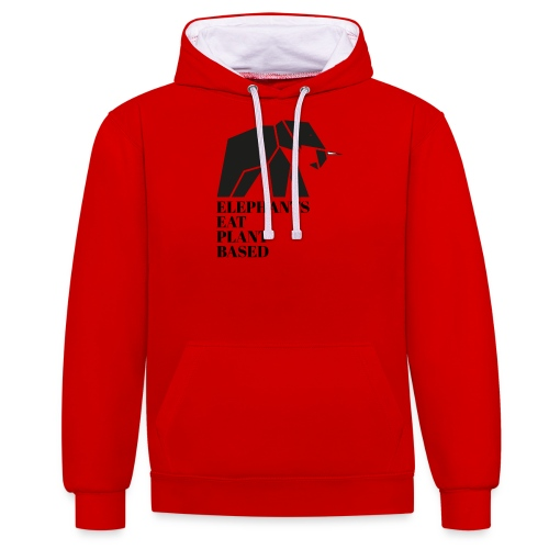 Elephants Eat Plant Based - Kontrast-Hoodie
