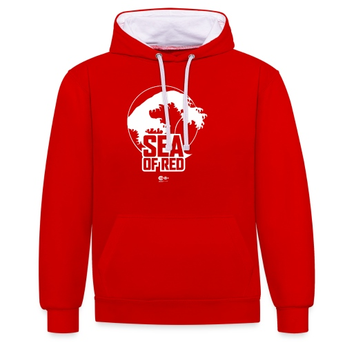 Sea of red logo - white - Contrast Colour Hoodie