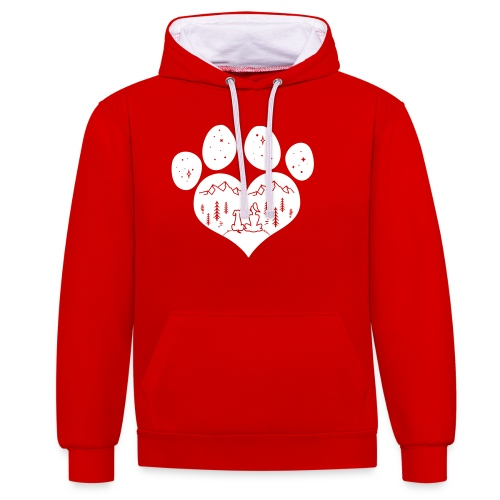 Vorschau: dog girl outdoor pawheart - Kontrast-Hoodie