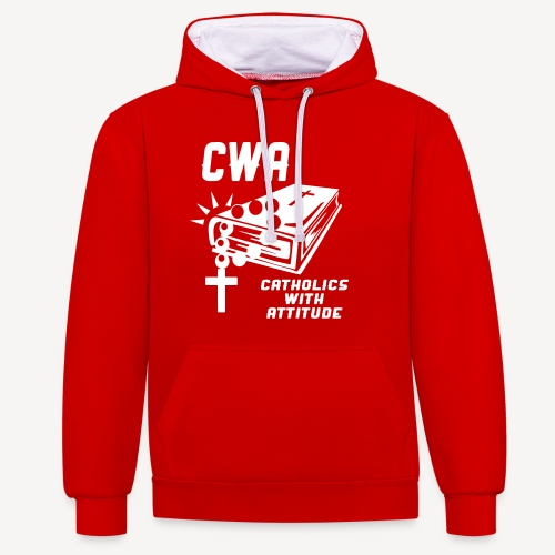 CWA CATHOLICS WITH ATTITUDE - Contrast Colour Hoodie