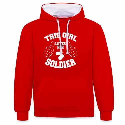 This Girl Loves Her Soldier - Contrast Colour Hoodie