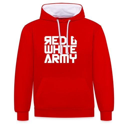 Red & White Army - Contrast Colour Hoodie