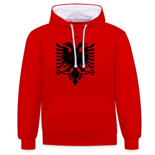 Albanischer Adler im Vintage Look - Patrioti - Kontrast-Hoodie