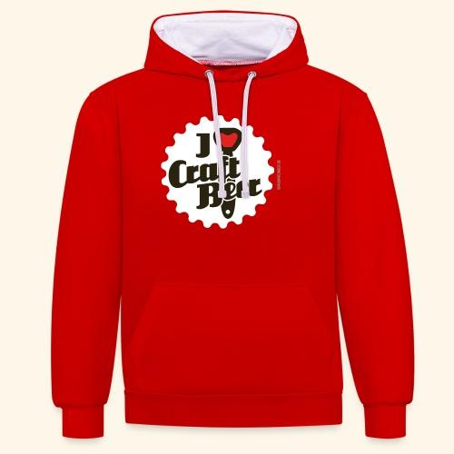 Craft Beer T-Shirt Design I Love Craft Beer - Kontrast-Hoodie