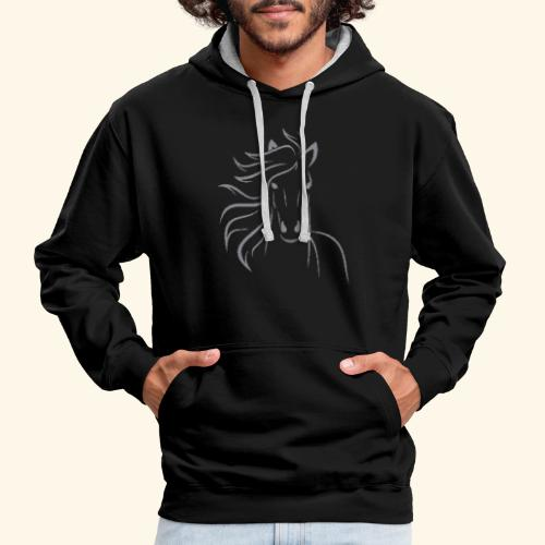 I love horses - Light stitched design - Kontrast-Hoodie