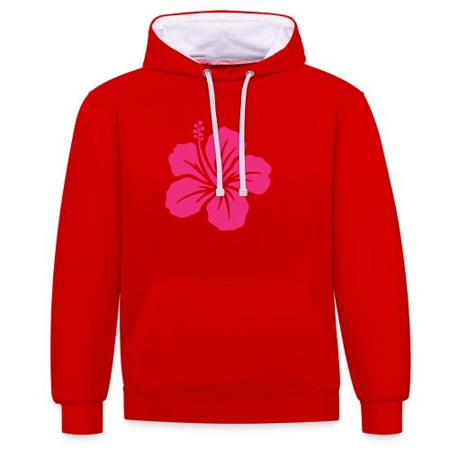 Camisetas, blusas, forros celulares de flor rosada - Sudadera con capucha en contraste