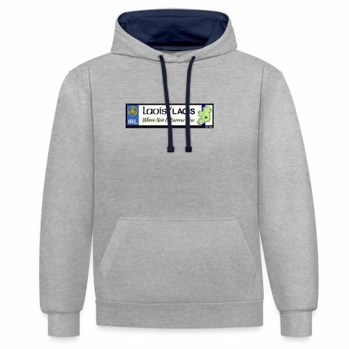 LAOIS, IRELAND: licence plate tag style decal eu - Contrast Colour Hoodie