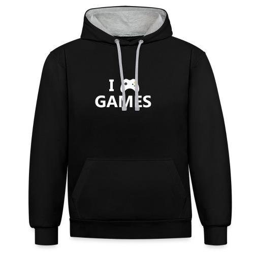 I Love Games 2 - Sudadera con capucha en contraste