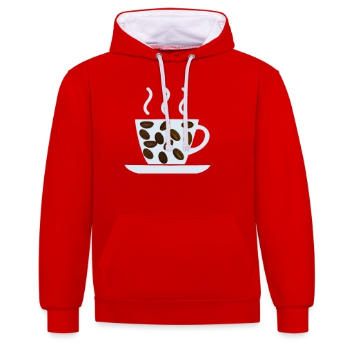 grey cup cofee with beans - Felpa con cappuccio bicromatica