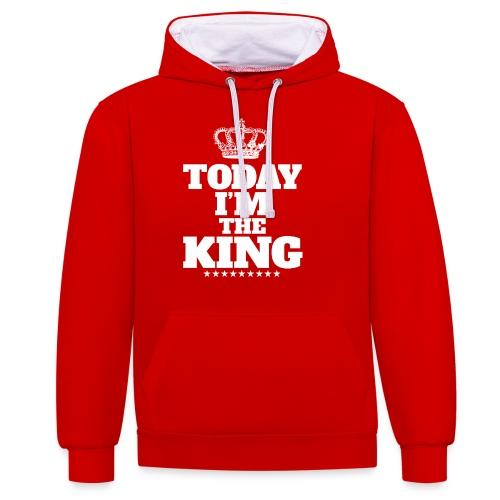 today i'm the king - Bluza z kapturem z kontrastowymi elementami