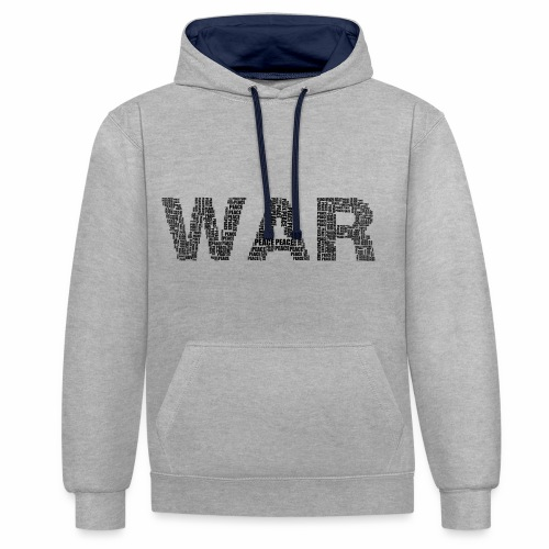 Napis stylizowany War and Peace - Bluza z kapturem z kontrastowymi elementami