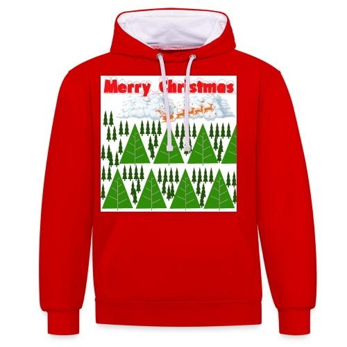 christmas time. Tempo di Natale - Felpa con cappuccio bicromatica