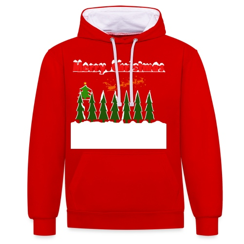 Merry christmass - Felpa con cappuccio bicromatica