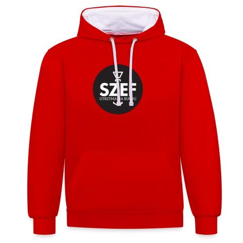 Logo-szef-utrzymania-ruchu_ok_net_black - Bluza z kapturem z kontrastowymi elementami