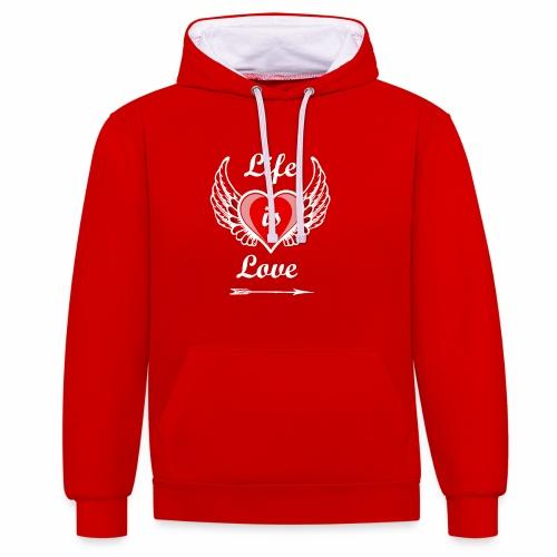 Life is Love - Kontrast-Hoodie