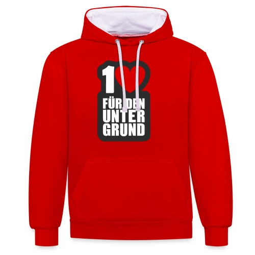1 Herz für den Untergrund - Logo grau - Kontrast-Hoodie