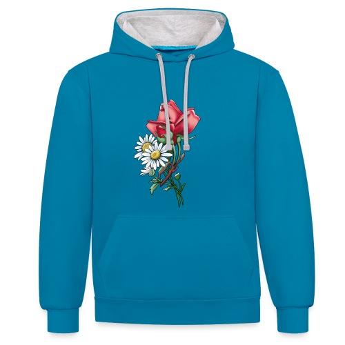 Päivänkakkara ruusunippu tekstiilit ja lahjat - Kontrastihuppari