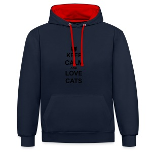 Keep Calm and Love Cats - Black - Contrast Colour Hoodie
