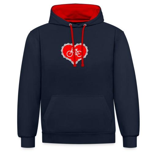 Miłość Biking - Bluza z kapturem z kontrastowymi elementami