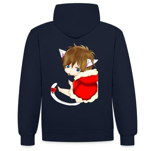 Cute Christmas Fox boy - Kontrast-Hoodie