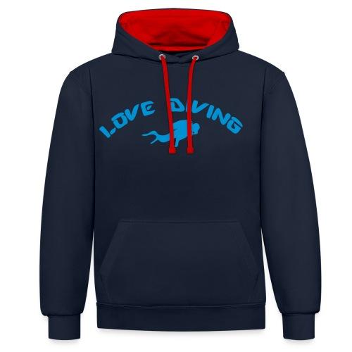 love diving - Kontrast-Hoodie