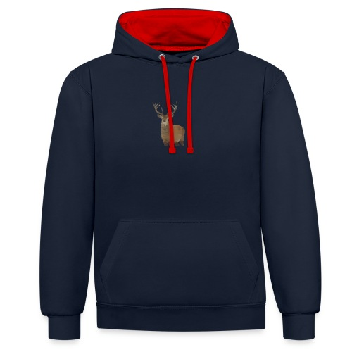 Cerf Low poly hoodie - Sweat-shirt contraste