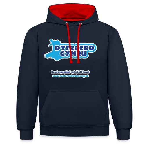 Logo_welsh_tshirt_outline - Contrast Colour Hoodie