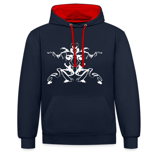 Rorschach test of a Shaolin figure Tigerstyle - Contrast Colour Hoodie