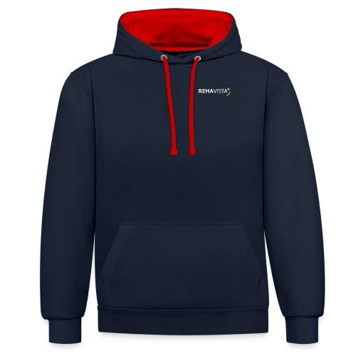 rehavista-logo-weiss-grue - Kontrast-Hoodie