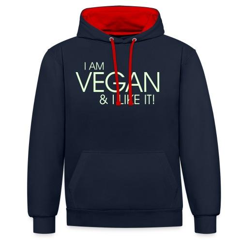 I am vegan and I like it - Kontrast-Hoodie