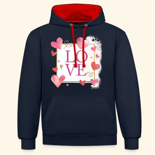 LOVE E HEARTS - Felpa con cappuccio bicromatica