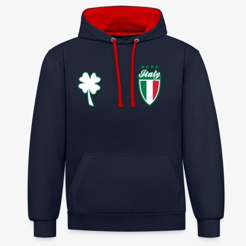 Italia Scudo e trifoglio - Felpa con cappuccio bicromatica