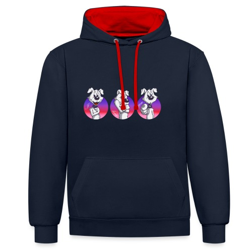 "Comic Hund in Gebärdensprache ""I love you"" - Kontrast-Hoodie"