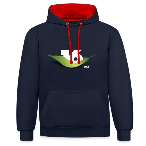 Logo16 weiss - Kontrast-Hoodie