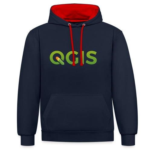 QGIS text logo - Contrast Colour Hoodie