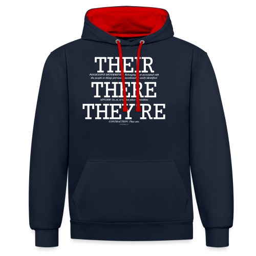 ThereTheirTheyreWhite - Contrast Colour Hoodie