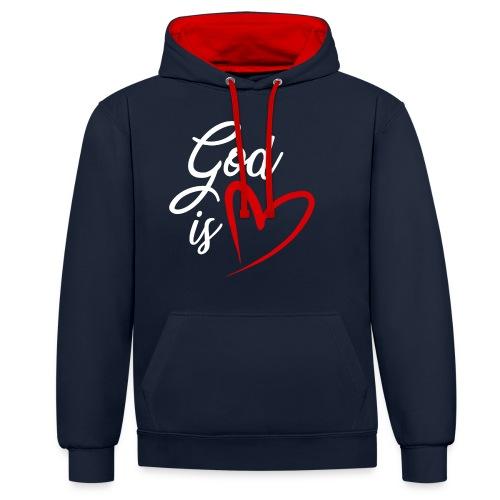 God is love 2B - Felpa con cappuccio bicromatica