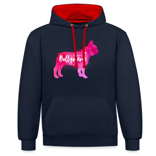 Liebende Bullymama - Französische Bulldogge - Kontrast-Hoodie