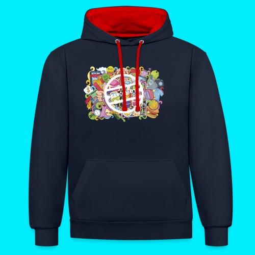 maglia logo doodle - Felpa con cappuccio bicromatica