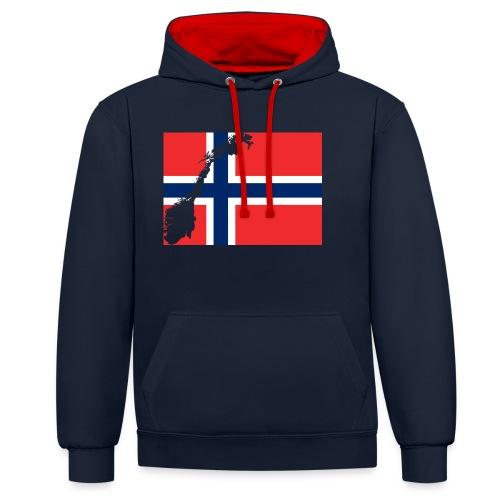 Norges Flagg - Kontrast-Hoodie