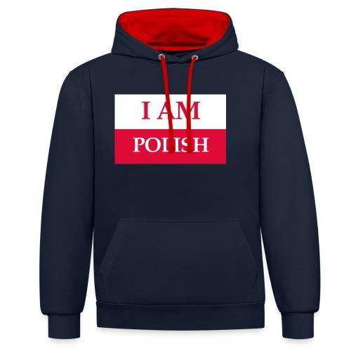 I am polish - Bluza z kapturem z kontrastowymi elementami