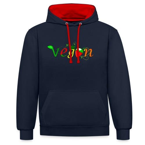 Vegan - Sudadera con capucha en contraste