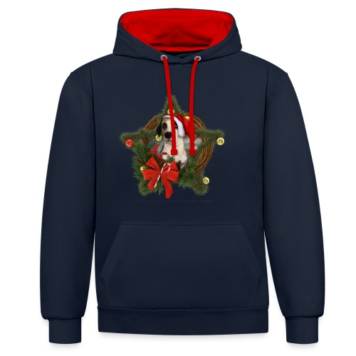Christmas Dog - Felpa con cappuccio bicromatica