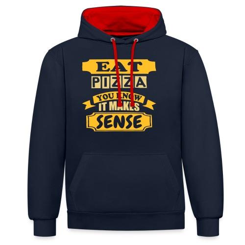 Eat Pizza - Contrast Colour Hoodie