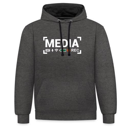MEDIA Crew - Felpa con cappuccio bicromatica