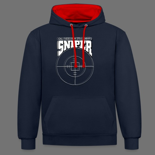 Sniper (białe) - Bluza z kapturem z kontrastowymi elementami