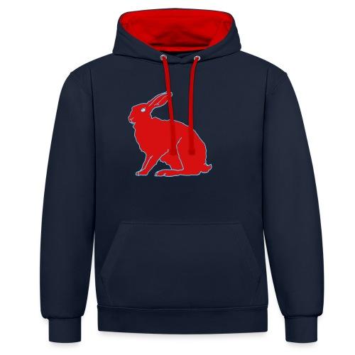 Roter Hase - Kontrast-Hoodie