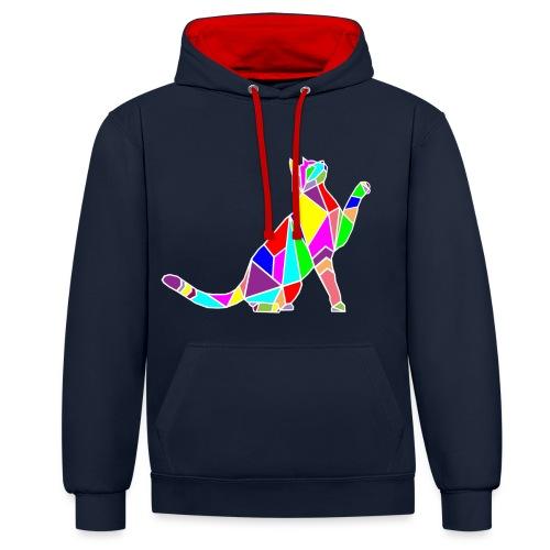 cat colors white pet animal art composicion - Felpa con cappuccio bicromatica
